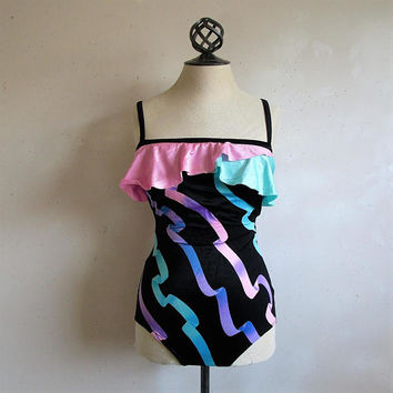 80s Robby Len Vintage Bathing Suit Black Ruffle One Piece Pink Green Ribbon Maillot Swimsuit 14