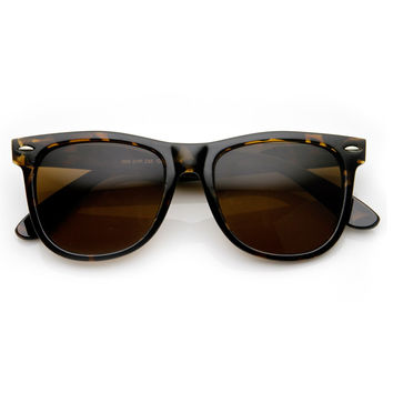 Classic 1980s Tortoise Brown Large 54mm Horn Rimmed Sunglasses
