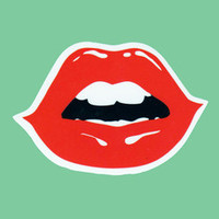 Red Glossy Lips Transparent Sticker Decal