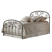 Grafton Complete Bed with Metal Scrollwork Panels and Decorative Castings, Rusty Gold Finish, Twin
