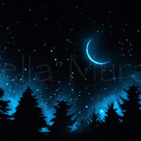 Moon and Misty Trees - Glow in the Dark Star Poster