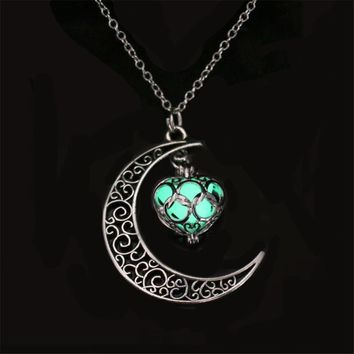 Silver Moon Glowing Statement Necklace Green Stone Choker Gothic Jewelry Women Men Bijoux Femme Chain Collier Best Friends Kolye
