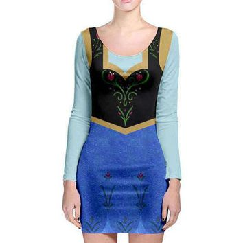 Adult Anna Frozen Inspired Long Sleeve Bodycon Dress