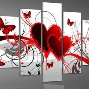 Hand Painted Red Love Hearts Butterfly Butterflies Abstract Love Wall Art Canvas