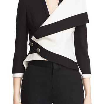 Alexander McQueen Two-Tone Drape Front Military Jacket | Nordstrom
