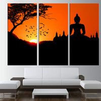 Buddha Statue wall Art canvas, sunset wall art, Buddha wall Art canvas, large wall art print, extra large wall art, buddha wall art t196