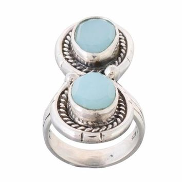 Arvino Infinity Silver Ring With Blue Chalcedony Gemstone