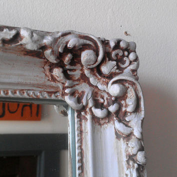 Large Baroque Mirror in Antique Hand Painted Wood Frame 31 by 25 Inches