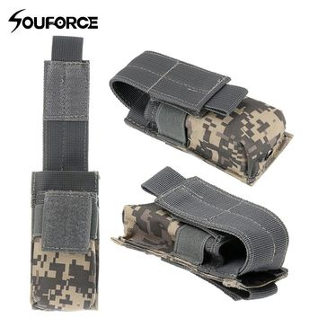 Tactical Single Pistol Magazine Pouch Knife Flashlight Sheath Hunting Open Top Ammo Molle Pouch Cartridge Clip Bags