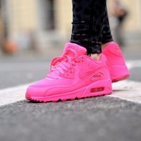 New Styles Best Buy Nike Air Max 90 Premium Womens Hyperfuse Hot Pink Sport Shoes Cheap Sale UK