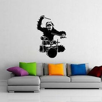 Wall Stickers Vinyl Decal Monkey Rock Music Drums Cool Room Decor Unique Gift (ig1006)