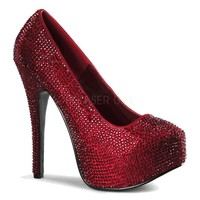 "Bordello Shoes - Teeze-06R Ruby Red Satin with Red Rhinestones Concealed Platform Pumps with 5 3/4"" Heel"