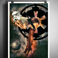 Star wars pinup girl, Pinup girl storm trooper with death star, star wars watercolor art print