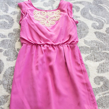 Nwot Pink Tibi Sleeveless Silk Dress With Bateau Neck, Ruching Details At Sides, Defined Waist, Opening At Back And Button Closure At Nape