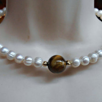 Pearl Coil Necklace, 14K Gold Bead,  Fresh Water, Tiger Eye, Collar Choker, Bridal Wedding Jewelry