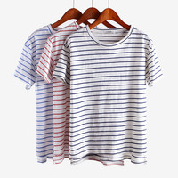 Striped Womens Cotton Solid T Shirt