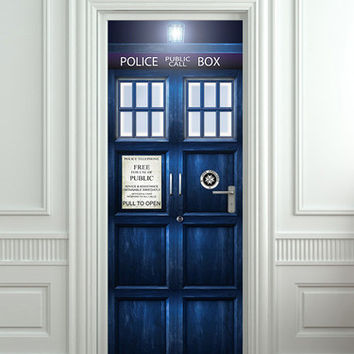 Door STICKER Police box magical mural decole film