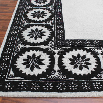 Wheels Black And White 5 x 8 Floral Persian Style Wool Area Rug