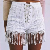 Sexy Lace Hollow Out Ladies Pants [114900140058]