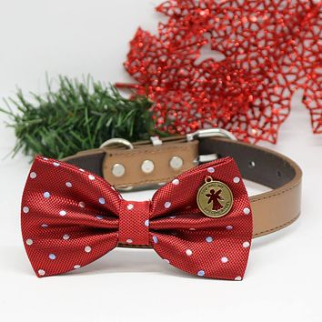 Dog Red Polka Dots Bow tie collar, You are my special angel, Dog birthday gift, wedding accessory, Christmas gift