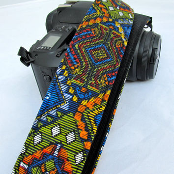 Southwest Tapestry dSLR camera strap in Native American style with bold colors of rust, brick, sunflower, pumpkin, and marine teal