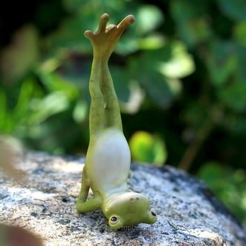 Yoga Frog in Shoulderstand Pose Figurine Miniature Statue 3.5H