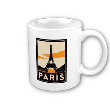 paris art deco retro travel poster coffee mugs from Zazzle.com