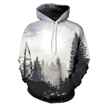 Black & White Forest Hoodie