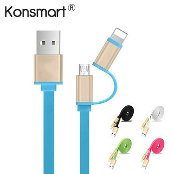 KonSmart New 2-In-1 Flat Micro USB Charging Cable (iPhone. iPad, Samsung and More!)