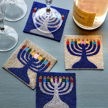 Menorah Coasters, 4-Piece Set - Sudha Pennathur