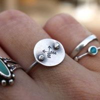 Sterling Silver Crossed Arrows Directions Ring