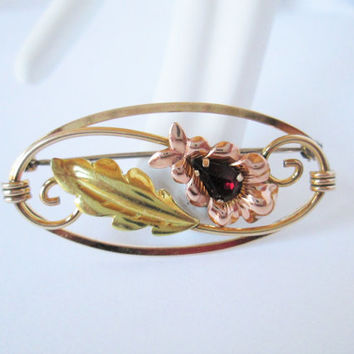 Vintage Van Dell Yellow Gold Rose Gold Filled Oval Floral Pin Brooch Genuine Garnet Accent Stone 1940s Era Fall Leaves Design Anytime