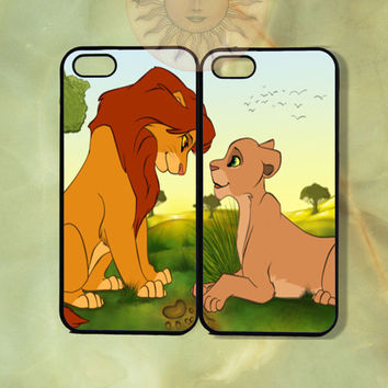 Simba and Nala Couple Case -iPhone 5, iphone 4s, iphone 4, ipod 5, Samsung GS3 case- silicone or Hard Plastic Case, Phone cover