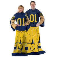 Michigan Wolverines NCAA Adult Uniform Comfy Throw Blanket w- Sleeves