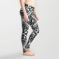 Black and White | Leyana Tribal 1 Leggings by Webgrrl