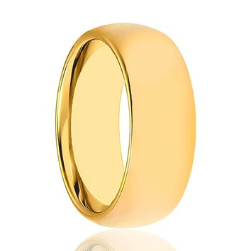 Aydins Gold Tungsten Wedding Band Shiny Polished Tungsten Carbide Ring Domed 4mm, 5mm, 7mm, 9mm Mens and Womens Tungsten