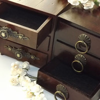 A set of 2 UNIQUE Mini RUSTIC VintAged drawers. With ornate pulling handles. Prototypes. One of a Kind.