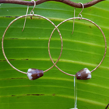 Hammered Hoop Shell Earrings, 14K Gold filled hoops, seashell earrings, shell jewelry, Hawaiian shells, Hawaii jewelry, big hoops, ocean