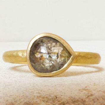 Rose Cut, Rustic Diamond Engagement Ring, 1.04cts.  with Smoky/Charcoal/Rust Flecks.  18k Recycled Gold.  Size 8.