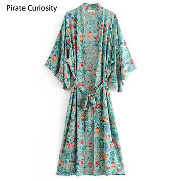 Cover ups Bikini Pirate Curiosity Women Shirt Kimono Boho Maxi Long Tops Jacket Vintage Floral Print Blouse Summer Beach  Jacket 2018 KO_13_1