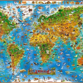 Animal World The wooden puzzle 1000 pieces high quality  jigsaw puzzle wood materials adult children's educational toys