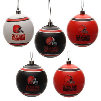 Cleveland Browns  Official NFL 5 Pack Shatterproof Ball Ornament