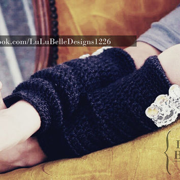 Infant, Toddler, Child Youth LEG WARMERS crochet with lace/ rhinestone embellishments by Lulu Belle Designs.
