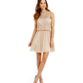 Morgan & Co. Lace Popover Dress | Dillards