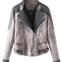Gray Lapel PU Panel Shearling Lining Suedette Coat