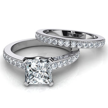 A Perfect 2CT Princess Cut Russian Lab Diamond Wedding Ring Bridal Set