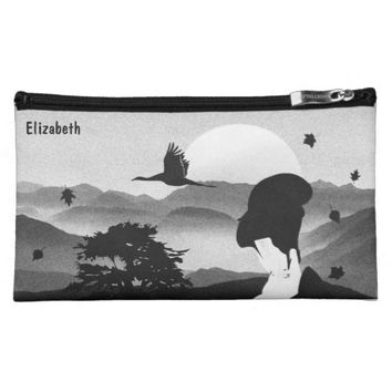 Japanese Graphic Pen Geisha Tree Rising Sun Makeup Bag