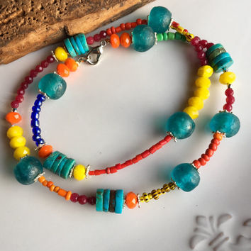Colorful Beaded Necklace, Tribal Necklace, African Christmas Beads, Yellow Glass, Orange Glass, Blue Glass, Turquoise, Unique, Festive