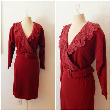 80s Vintage Sweater Dress Maroon Lambswool Angora Fall Winter Lace Midi Petite 8