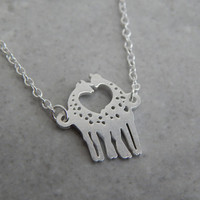 Tiny Silver Plated Kissing Giraffes Necklace